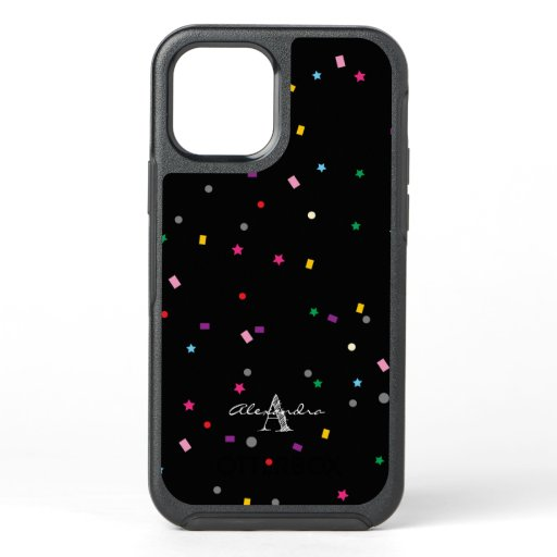 Monogram | Cute Colorful Confetti on Black Pattern OtterBox Symmetry iPhone 12 Pro Case