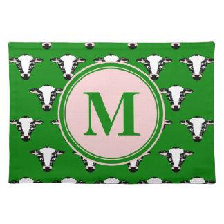 Monogram Cute Cow Face Pattern Cloth Place Mat