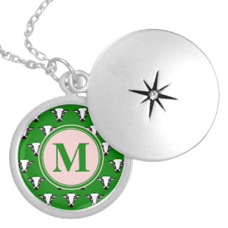 Monogram Cute Cow Face Pattern Round Locket Necklace