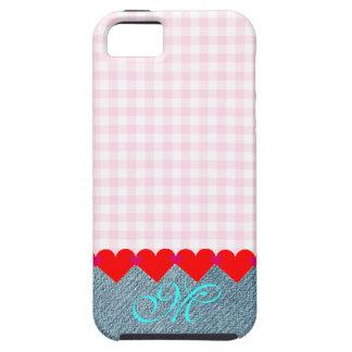 Monogram Cute Denim Girly Pink Vintage Pattern iPhone SE/5/5s Case