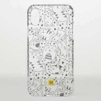 Monogram. Cute Doodles. Black & White Cats. iPhone X Case