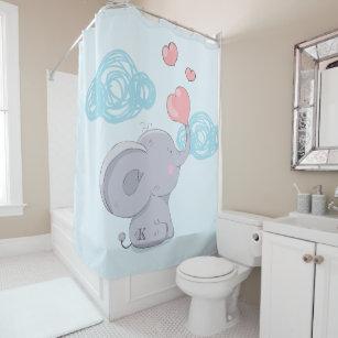 Cute Elephant Blowing Heart Bubbles Shower Curtain