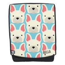 Monogram. Cute French Bulldog. Backpack