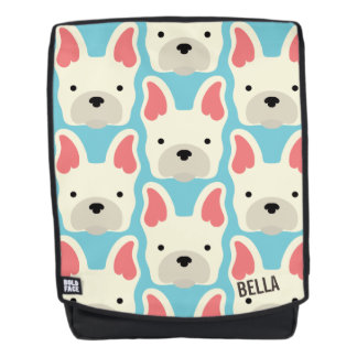 Monogram. Cute French Bulldog. Backpack