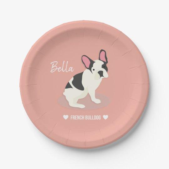 Monogram. Cute French Bulldog. Paper Plate   Zazzle.com