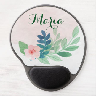 Monogram Cute Girly Fine Floral Watercolor Gel Mouse Pad