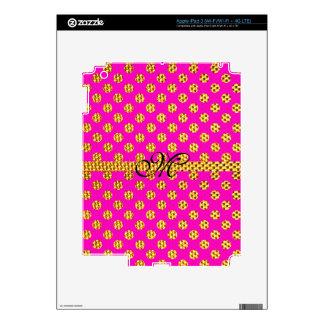Monogram Cute Girly Pink Trendy Bling Glitter iPad 3 Skins