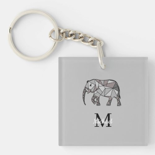 Monogram Cute Graphics Elephant Personalized Black Keychain