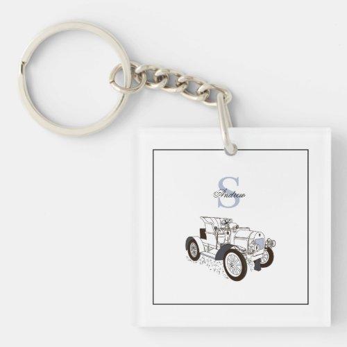 Monogram Cute Graphics Personalized Black Car Keychain