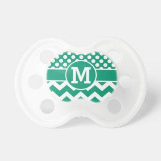 Monogram Cute Green Chevron Polka Dots Pacifier