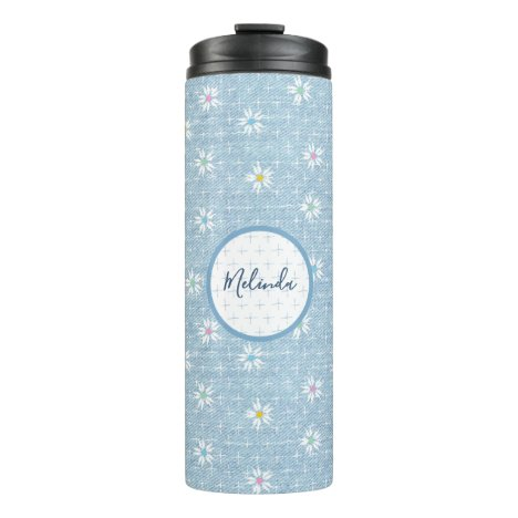 Monogram cute light blue faded denim floral thermal tumbler