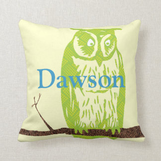 Monogram Cute Lime Vintage Stylised of Owl Throw Pillow
