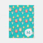Monogram Cute Owls Pattern Blanket Fleece Blanket