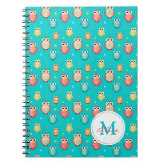 Monogram Cute Owls Pattern Notebook