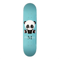 Monogram Cute Panda Personalized Bubble Gum Blue Skateboard