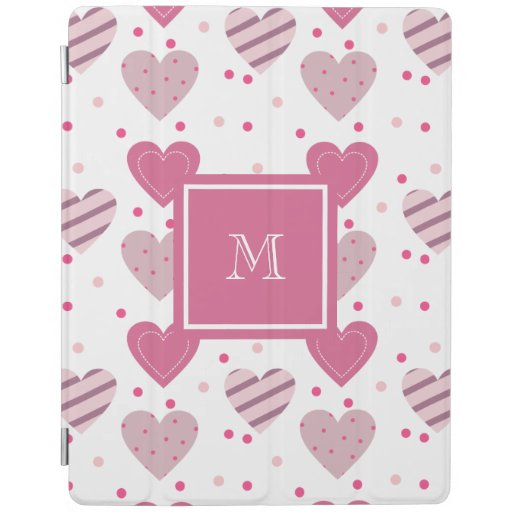 Monogram Cute Pink Hearts Pattern Love Romance iPad Smart Cover