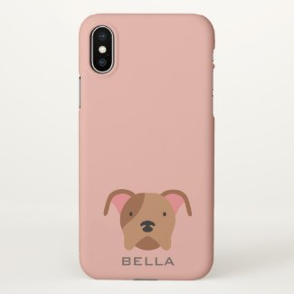 Monogram. Cute Pit Bull Puppy Dog. iPhone X Case