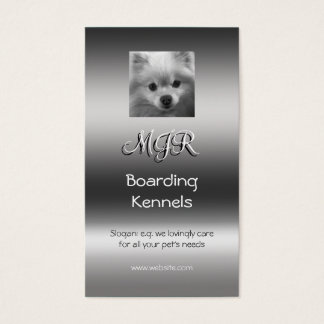 Monogram, Cute Pomeranian Puppy, metallic-effect Business Card