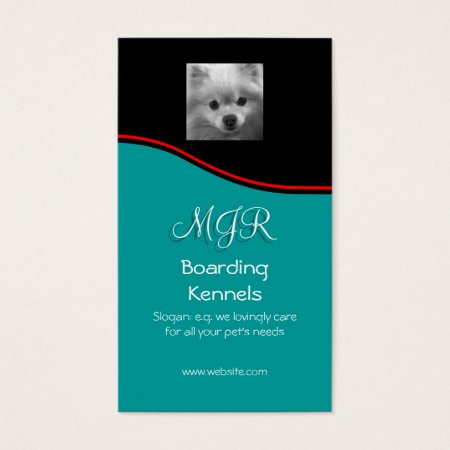 Monogram, Cute Pomeranian Puppy, red swoosh Business Card