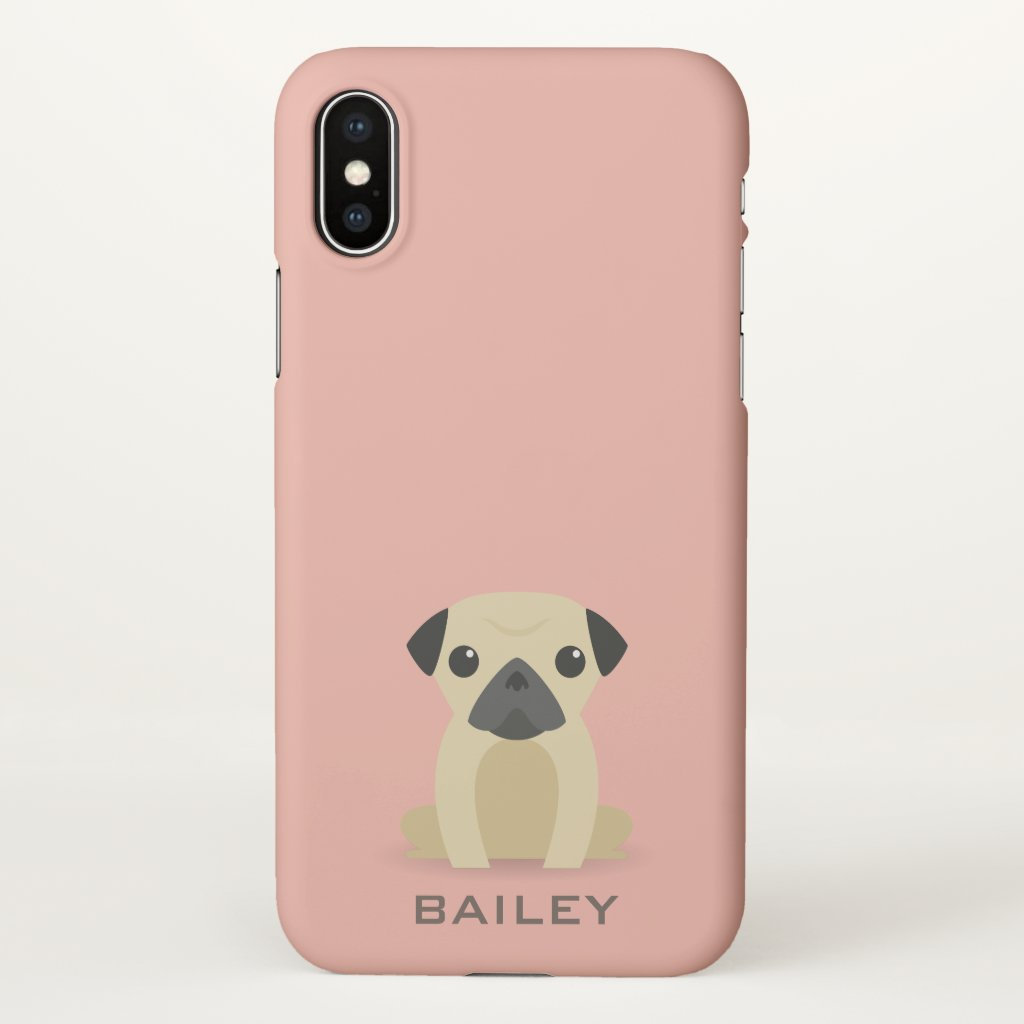 Monogram. Cute Pug Puppy Dog. iPhone X Case