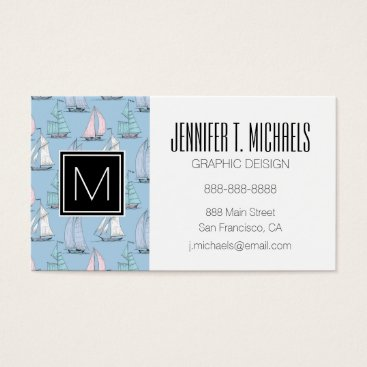 Beach Themed Monogram Cute Sailboat Pattern 1 Business Card