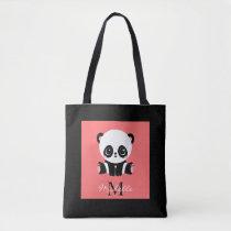 Monogram cute sitting panda personalized salmon tote bag