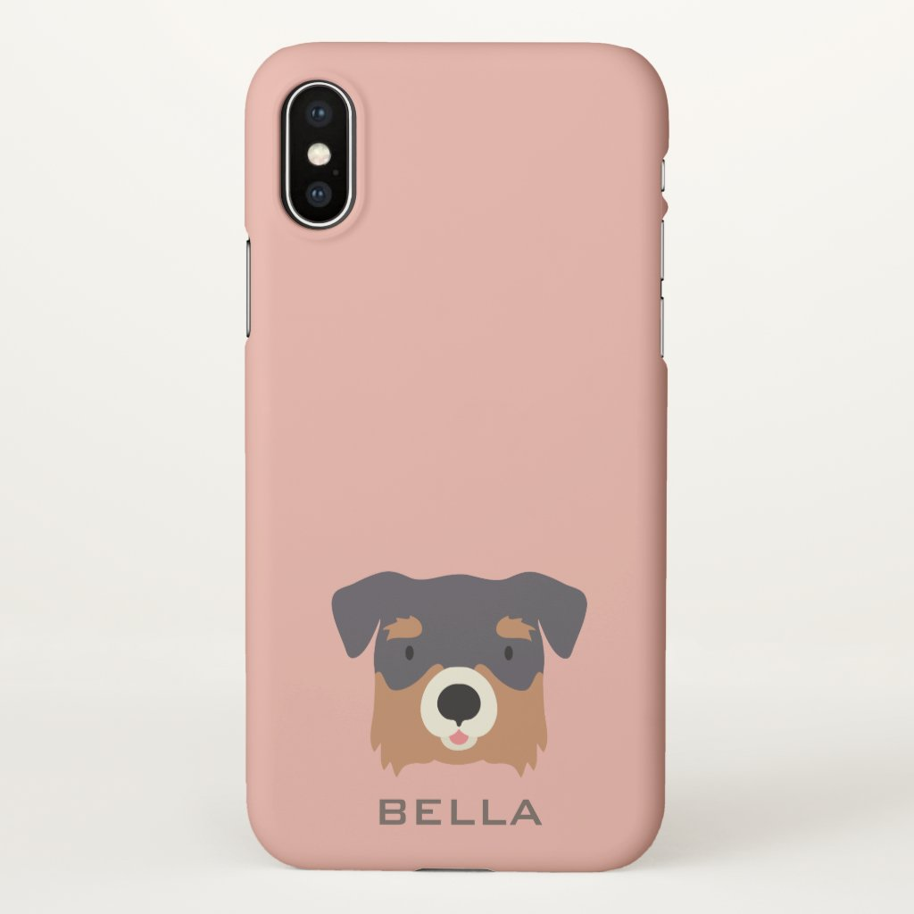 Monogram. Cute Terrier Puppy. iPhone X Case
