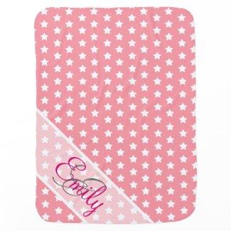 Monogram Cute White Stars Pattern Girly Pink Swaddle Blanket