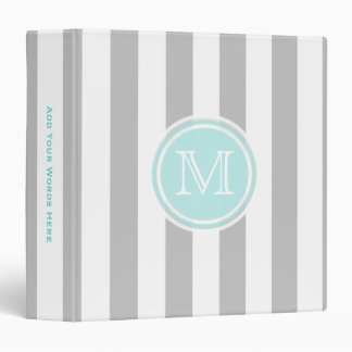 Monogram: Cyan And Gray/ White Striped Binder