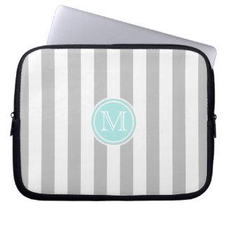 Monogram: Cyan Gray And  White Stripe Laptop Bag
