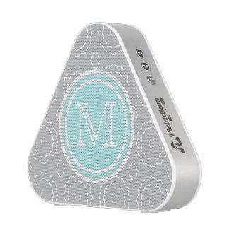 Monogram Cyan Gray & White Motif Pieladium Speaker