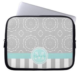 Monogram Cyan Gray & White Motif Stripe Laptop Bag