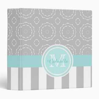 Monogram: Cyan, Gray & White Motif/Striped Binder