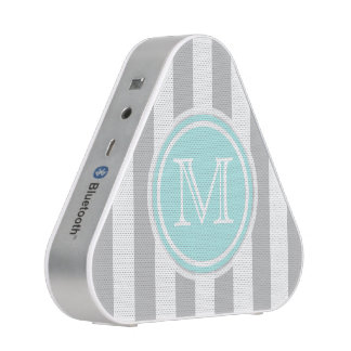 Monogram Cyan Gray & White Pieladium Speaker