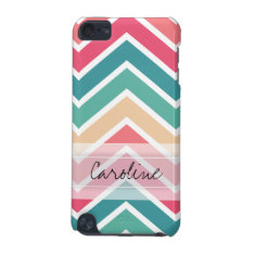 Monogram Cyan Peach Reds Geometric Chevron Pattern Ipod Touch (5th Generation) Case at Zazzle