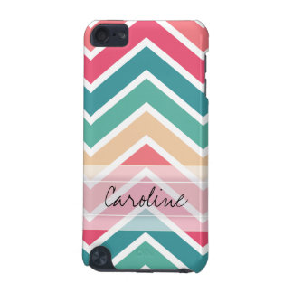 Monogram Cyan Peach Reds Geometric Chevron Pattern iPod Touch (5th Generation) Case