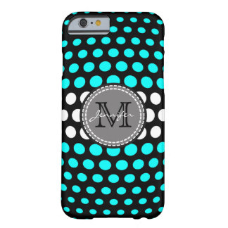 Monogram Cyan & White Polka Dots Pattern Barely There iPhone 6 Case