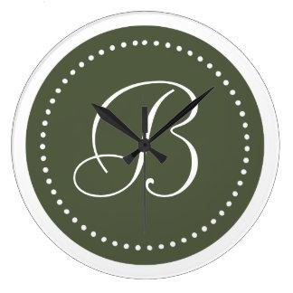 Monogram Cypress Pine Green/White Dot Border Wall Clock