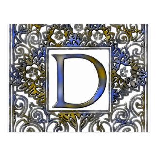Monogram D- Blue & Brown Postcard
