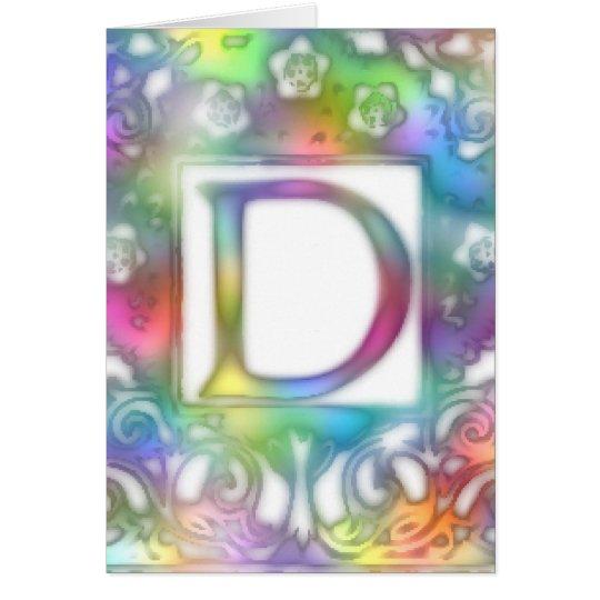 Monogram D- Bright Colors Card