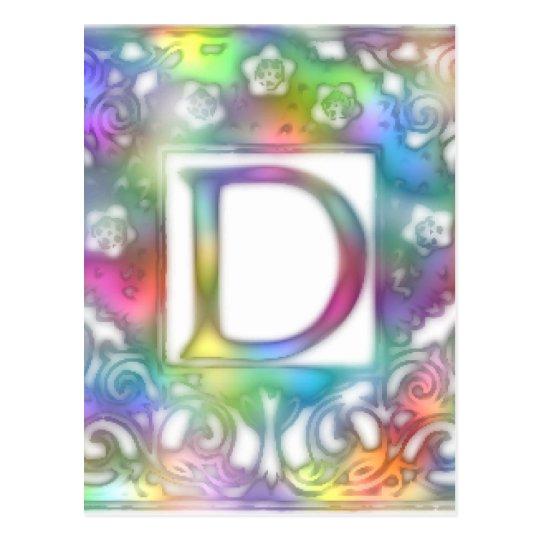 Monogram D- Bright Colors Postcard