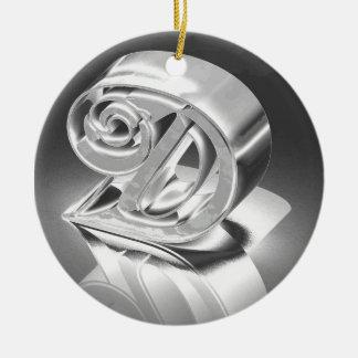 Monogram D Ceramic Ornament