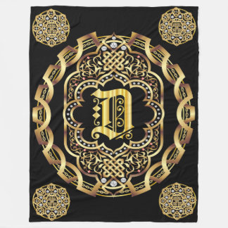 Monogram D CUSTOMIZE To Change Background Color Fleece Blanket