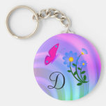 Monogram D Flower Butterfly Keychain