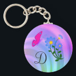 "Monogram D Flower Butterfly Keychain<br><div class=""desc"">Monogram letter D on a pastel background with blue flowers and a pink butterfly. Choose the letter desired. Customize letter size and/or color.</div>"
