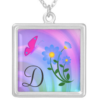 Monogram D Flower Butterfly Necklace