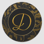 Monogram D Gold and Black Damask Wedding Seal Classic Round Sticker