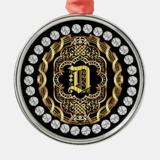 Monogram D IMPORTANT Read About Design Metal Ornament
