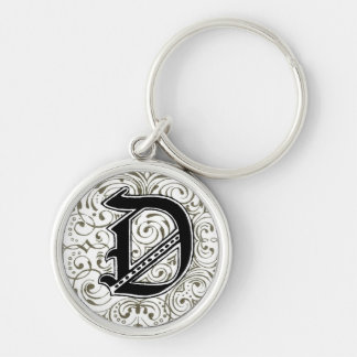 Monogram 'D' in Grey Silver-Colored Round Keychain
