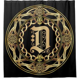 Monogram D Shower Curt Customize Change Back Color Shower Curtain